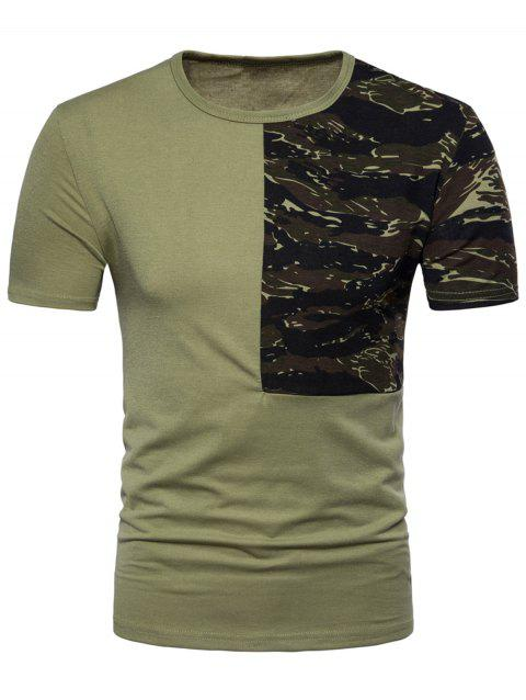 Camouflage Splicing Crew Neck T-shirt - ARMY GREEN M