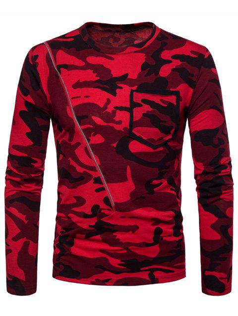 Zipper Pocket Design Camo Print Crew Neck T-shirt - CHESTNUT RED 2XL