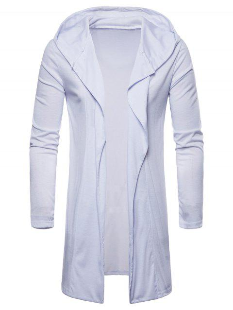 Open Front Hooded Solid Color T-shirt - WHITE L