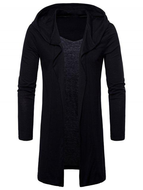 Open Front Hooded Solid Color T-shirt - BLACK L