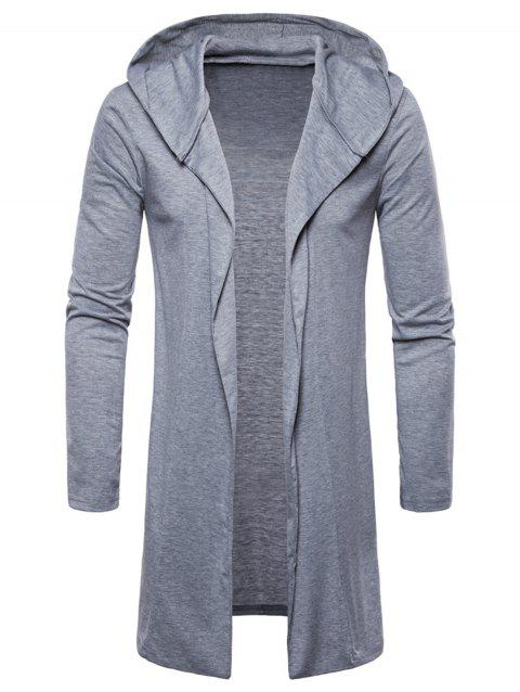 Open Front Hooded Solid Color T-shirt - GRAY CLOUD M