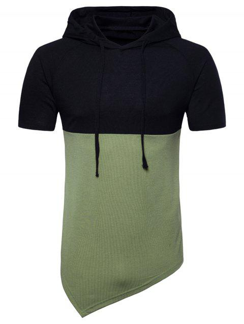 Hooded Color Block Short Sleeve Longline T-shirt - CAMOUFLAGE GREEN 2XL