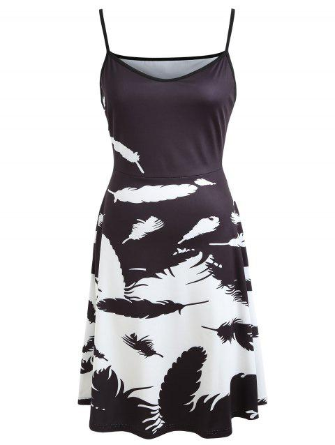 Feather Print V-neck Flare Dress - BLACK M