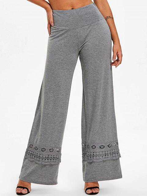 High Rise Lace Panel Palazzo Pants - GRAY XL