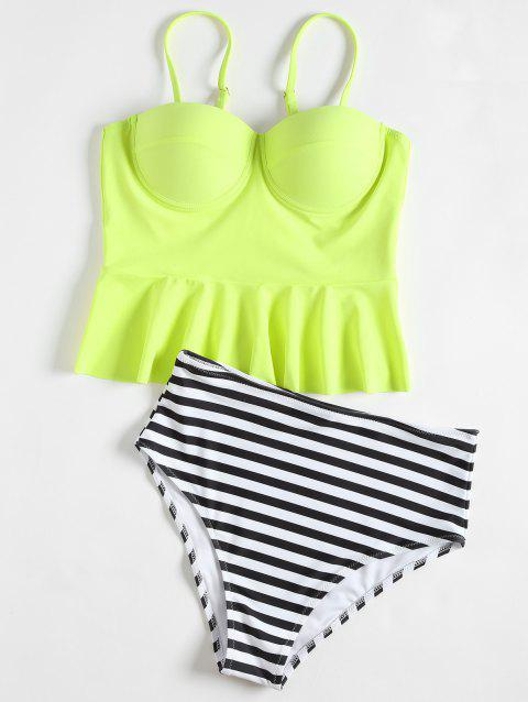 High Waisted Striped Peplum Tankini Set - YELLOW S
