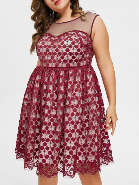 Plus Size Sleeveless Lace Dress - RED WINE 2X