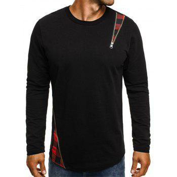 Long Sleeve Camouflage Zipper Embellished T-shirt - CHESTNUT RED 3XL