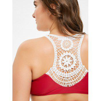 Lace Racerback Plus Size Wrap Bikini - RED WINE 4XL