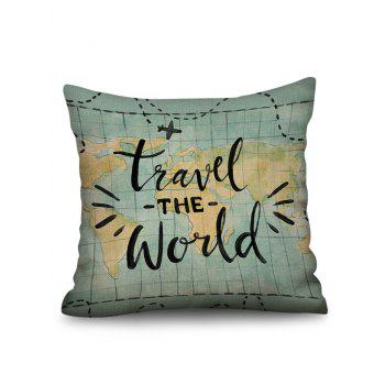 World Travel Print Linen Sofa Pillowcase - multicolor W18 INCH * L18 INCH