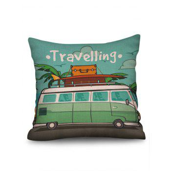 Motor Home Travelling Print Linen Sofa Pillowcase - multicolor W18 INCH * L18 INCH