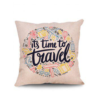 Travel Items Print Linen Sofa Pillowcase - multicolor W18 INCH * L18 INCH