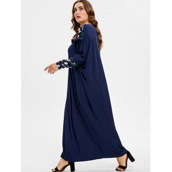 Plus Size Feather Batwing Sleeve Dress - MIDNIGHT BLUE ONE SIZE