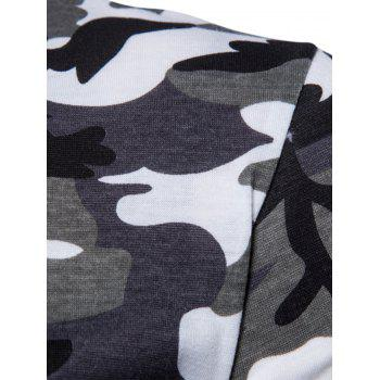 Camouflage Splicing Crew Neck T-shirt - WHITE L