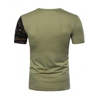 Camouflage Splicing Crew Neck T-shirt - ARMY GREEN XL
