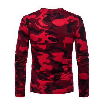Zipper Pocket Design Camo Print Crew Neck T-shirt - CHESTNUT RED L