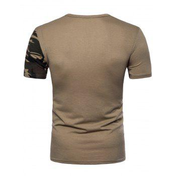 Camouflage Splicing Crew Neck T-shirt - DARK KHAKI L