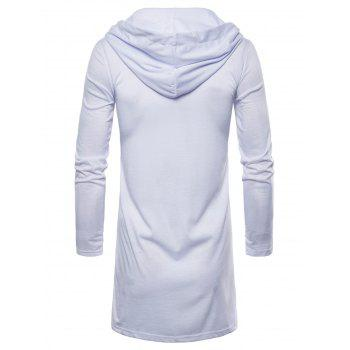 Open Front Hooded Solid Color T-shirt - WHITE M