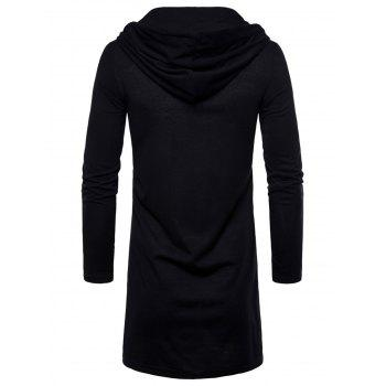 Open Front Hooded Solid Color T-shirt - BLACK 2XL