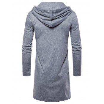 Open Front Hooded Solid Color T-shirt - GRAY CLOUD 2XL