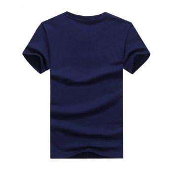 Graphic Print Design T-shirt - CADETBLUE S