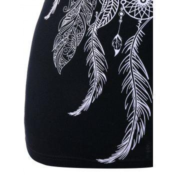 Plus Size Lace Insert Ethnic Feather Print T-shirt - BLACK 2XL