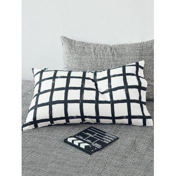 Two Pieces Plaid Print Cotton Pillowcases - multicolor 2PCS 48*74CM