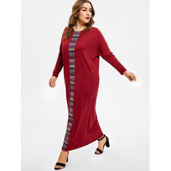 Plus Size Embroidered Batwing Sleeve Dress - RED ONE SIZE