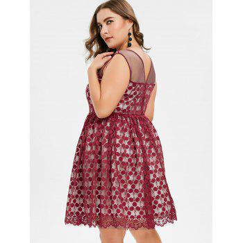 Plus Size Sleeveless Lace Dress - RED WINE L