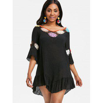 Sheer Flounce Tunic Crochet Panel Cover Up - BLACK ONE SIZE
