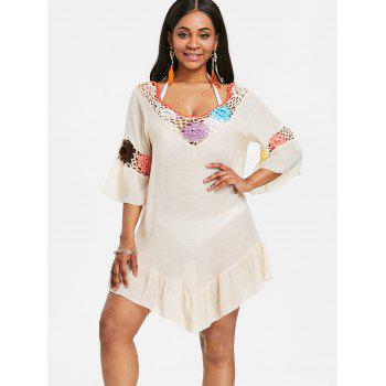 Sheer Flounce Tunic Crochet Panel Cover Up - BEIGE ONE SIZE
