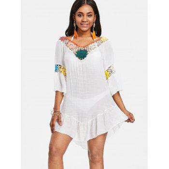 Sheer Flounce Tunic Crochet Panel Cover Up - WHITE ONE SIZE