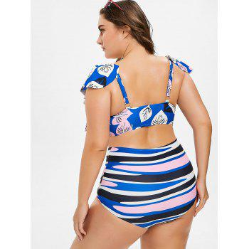 Plus Size Printed High Waisted Bikini - BLUE 5XL