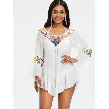 Bell Sleeve Flounce Crochet Panel Cover Up - WHITE ONE SIZE