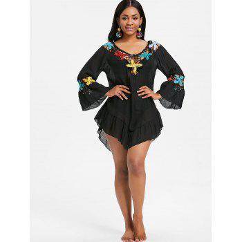 Bell Sleeve Flounce Crochet Panel Cover Up - BLACK ONE SIZE