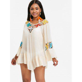 Bell Sleeve Flounce Crochet Panel Cover Up - BEIGE ONE SIZE