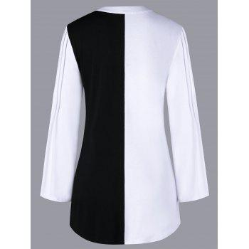 Pleated Color Block Long Sleeve Blouse - WHITE/BLACK M