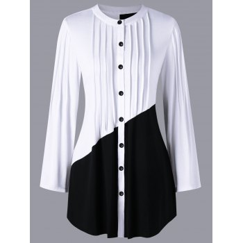 Pleated Color Block Long Sleeve Blouse - WHITE/BLACK XL