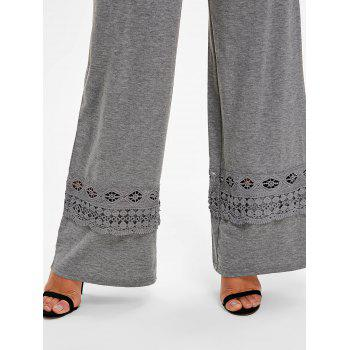 High Rise Lace Panel Palazzo Pants - GRAY S
