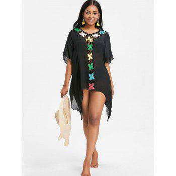 See Thru Crochet Insert Tunic Cover Up - BLACK ONE SIZE