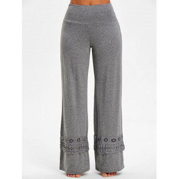 High Rise Lace Panel Palazzo Pants - GRAY L