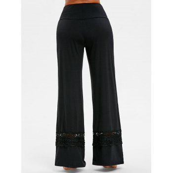 High Rise Lace Panel Palazzo Pants - BLACK S