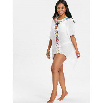 See Thru Crochet Insert Tunic Cover Up - WHITE ONE SIZE