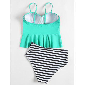 High Waisted Striped Peplum Tankini Set - GREEN XL