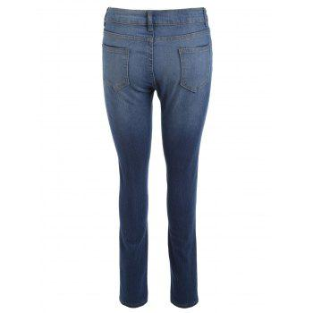 High Waisted Destroyed Ripped Skinny Jeans - BLUE S