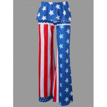 High Rise American Flag Palazzo Pants - ROYAL BLUE L
