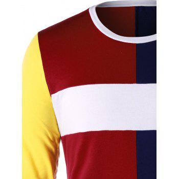 Color Contrast Long Sleeve T-shirt - COLORMIX L