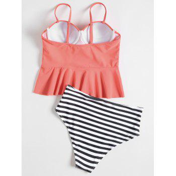 High Waisted Striped Peplum Tankini Set - CORAL M