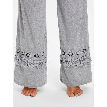 High Rise Lace Panel Palazzo Pants - LIGHT GRAY S