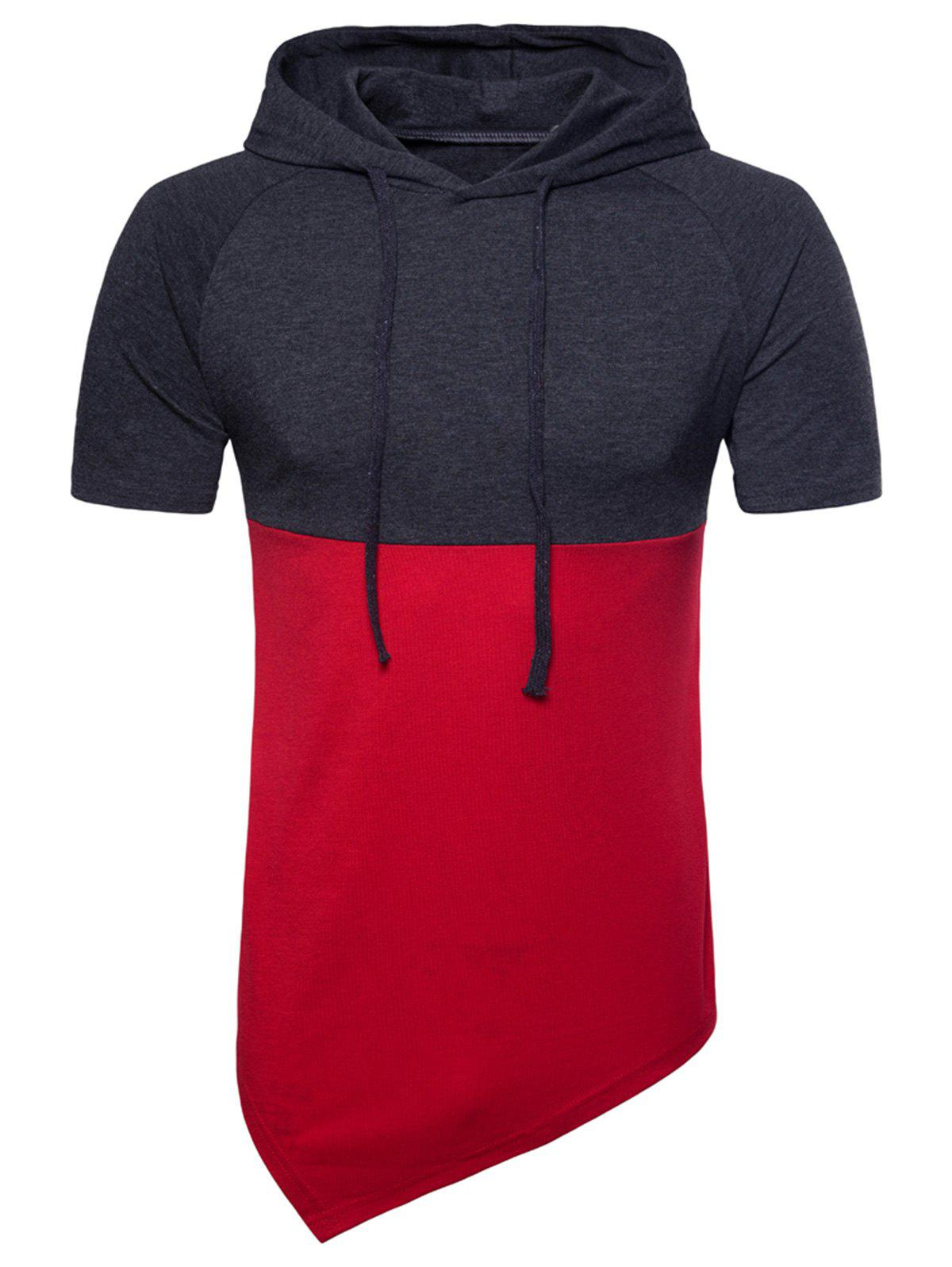 Hooded Color Block Short Sleeve Longline T-shirt - CHESTNUT RED 2XL
