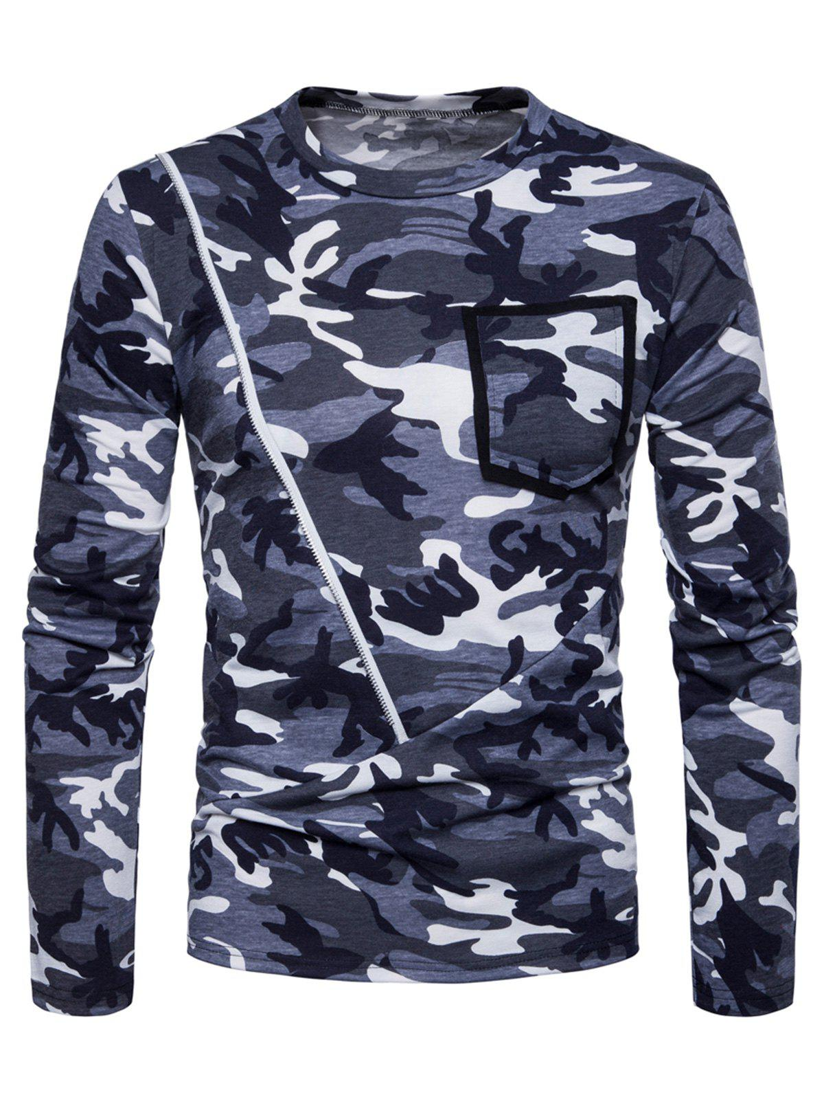 Zipper Pocket Design Camo Print Crew Neck T-shirt - DENIM DARK BLUE M